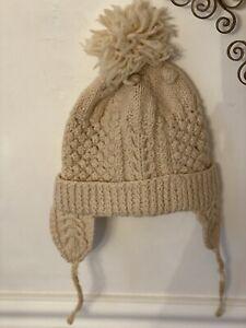 Vintage Irish Wool Hand Knit Child's Hat with Tassles Aran Crocheted Ivory