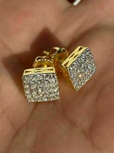 2Ct Round Cut Diamond Cluster Solitaire Mens Stud Earrings 14K Yellow Gold Over.