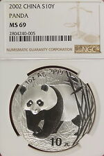 2002 NGC MS69 CHINESE PANDA 10Y 1oz SILVER!!!! #A0628