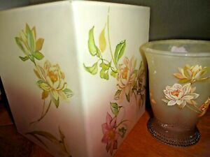 CROSCILL RIDGEWOOD 2PC TISSUE BOX COVER & CUP/TUMBLER FROSTED GREEN ROSE FLORAL