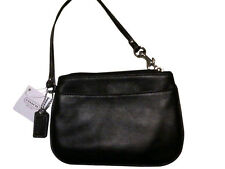 "Coach Black/Silver Soft Leather 4.5"" x 6"" Small Wristlet NWT- 45651"