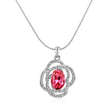 Amlong Crystal Silvertone Pink Red Oval Crystal Pendant Necklace