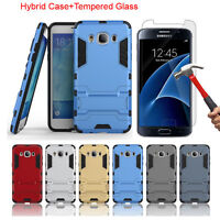 Armor Hybrid Case + Tempered Glass Screen Protector For Samsung Galaxy J5 2016