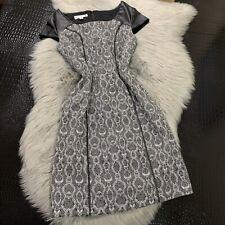 8be05eb105bf KAY UNGER New York Sz 4 Dress Black White Snakeskin Print Faux Leather Trim  Lace