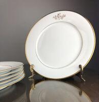 "Princess House Heritage Fine Bone China Letter C Monogram 10-1/2"" Dinner Plates"