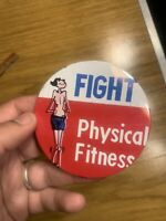 """RARE ORIGINAL 1966 TOPPS UGLY BUTTON 2"""" IN DIAMETER - FIGHT PHYSICAL FITNESS"""