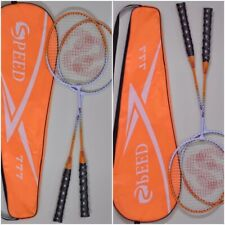 High Quality Brand New 2 X Speed 777 Branded Badminton Rackets with Bag Orange