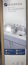 Glacier Bay Drop-In Stainless Steel 33 in. 4-Hole Double Bowl Kitchen Sink HDDB3