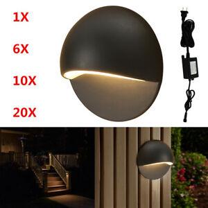 Φ50mm LED Deck Stair Lights Half Moon Outdoor Step Path Recessed Lamp 12V Black