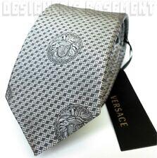 VERSACE Silver lattice pattern MEDUSA heads silk Twill MENS tie NWT Authentic!