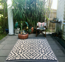 Kilimanjaro Indoor/Outdoor Rug 5x8 Reversible Southwestern Tribal Bohemian Black