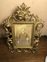 "Vintage Ornate Desk Top Cabinet Card Photo Picture Frame Fits 4 1/4"" by 6"""