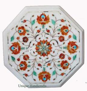 Marble Unique Cafeteria Table Top Carnelian Multi Stone Inlaid Floral Home Decor