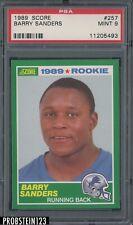 1989 Score Football #257 Barry Sanders Detroit Lions RC Rookie HOF PSA 9 MINT