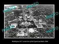 OLD LARGE HISTORIC PHOTO OF WASHIGNTON DC, AERIAL VIEW OF CAPITOL & MALL c1940