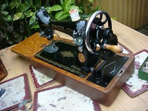 Vintage  Old  Antique Hand Crank  Singer sewing machine Model 99K See Video