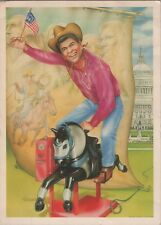 Postcard Ronald Reagan riding coin operated horse Capitol Mount Rushmore P01