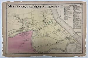 Late 1800s - Antique Map of Mittineaque & West Springfield