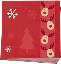 Christmas Rudolf Paper Napkins Party Table Serviettes Christmas Tableware