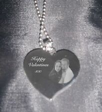 Personalised necklace photo text engraved gift mum friend birthday anniversary