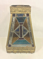 Antique Arts & Crafts Leaded Stained Glass Shade w/ Brass Frame Blue Red Yellow