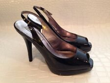 Steve Madden Black Patent Leather High Heels Open Toe Kesha Size 8