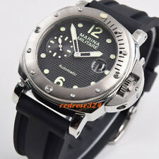 44mm black dial Rotating steel bezel polished case seagull date automatic watch