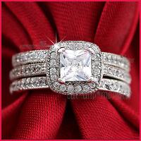 9CT WHITE GOLD GF LADIES ENGAGEMENT WEDDING DRESS BAND SQUARE CRYSTALS RINGS SET