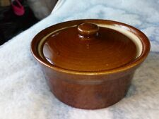 "PEARSON'S OFF CHESTERFIELD 1/2"" PINT BROWN GLAZE SMALL LIDDED POT VGC 5"" dia"