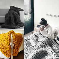 UK Wool Chunky Knitted Thick Blanket Yarn Bulky Knit Throw Sofa Blanket 3 Sizes