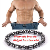 1× Weight Loss Round Black Magnet Stone Bracelet Health Care Magnetic Therapy