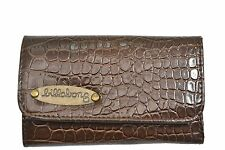 Billabong TABITHA Brown Faux Snakeskin Tri-Fold Snap Zip Pocket Discount Wallet
