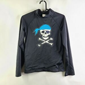 Gymboree Rash Guard Skull Pirate Bones Black Long Sleeve Swim Top Size 10