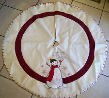 48 IN CREAM LET IT SNOW SNOWMAN LINED CHRISTMAS TREE SKIRT DECORATION