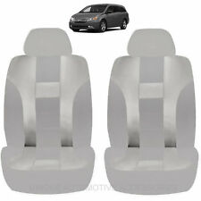 SOLID GRAY DBL STICHED FRONT LB AIRBAG COMPATIBLE SEAT COVERS FOR VANS 1020