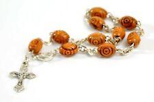 Olive Wood Bracelet Beaded Crucifix Cross Wooden Holy Land Mens Womens Jewelry
