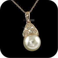 18k rose gold gp made with SWAROVSKI crystal pearl pendant necklace