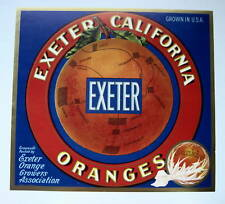 EXETER Orange Crate Label Exeter CA  Map on an Orange