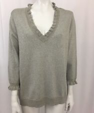 Chaps Classics Women's Plus Size Gray Metallic Ruffle Collar Sweater 1X