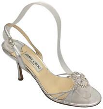 Jimmy Choo Silver Sandal Crystal Rhinestone Slingback Metallic 38 8 Open Toe