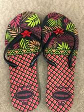 Havaianas Slim WOMENS Flip Flops Sandals - Multi Leaf Pink