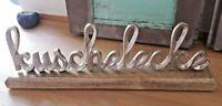 Schriftzug Kuschelecke Aluminium Guss auf Holzsockel 40,5 cm