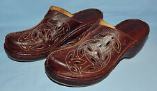 NICE PAIR OF PIKOLINOS CLOSED TOE BROWN LEATHER MULES SIZE 7.5-8 US 38 EURO (J)