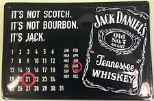 Jack Daniels embossed steel sign /  calendar 300mm x 200mm  (hi)