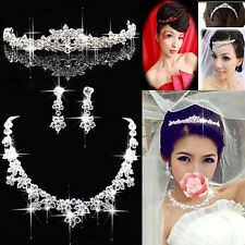 Bridal Wedding Jewelry Rhinestone Crystal Topknot Tiara Necklace Earrings Well
