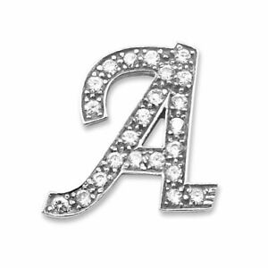 14ct White Gold and Cubic Zirconia Initial 'A' Pendant