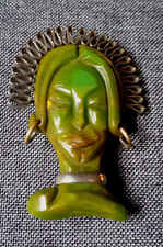 VINTAGE Brooch Marbled GREEN BAKELITE & WIRE ASIAN OR TRIBAL Woman FACE Head PIN