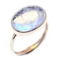Rainbow moonstone Natural  Handmade Gemstone 925 Sterling Silver Ring Size 7
