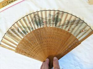 Antique Wang Sin Kee Shop Shanghai China Fan Hand Painted silk and wood