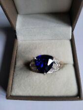 Diamonique 8.5ct tw Vintage Style Trillion Cut Ring Sterling Silver Tanzanite L